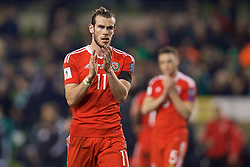 DUBLIN, REPUBLIC OF IRELAND - Friday, March 24, 2017: Wales' Gareth Bale applauds the supporters after the goal-less draw with Republic of Ireland during the 2018 FIFA World Cup Qualifying Group D match at the Aviva Stadium. (Pic by David Rawcliffe/Propaganda)