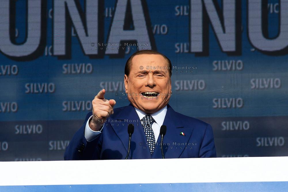 Roma 23 Marzo 2013.Manifestazione del Popolo della Libertà a piazza del Popolo, contro  l'oppressione fiscale, burocratica e giudiziaria e in difesa di Silvio Berlusconi