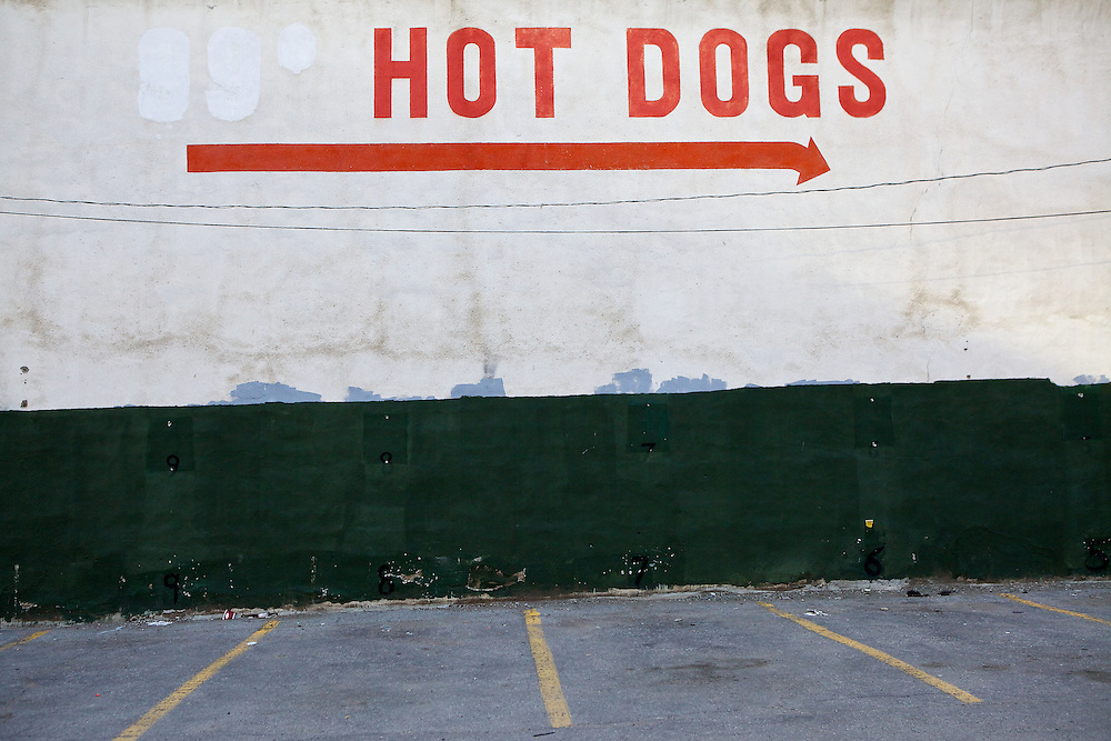 Hand-painted signage and weathered paint on the side of Toronto's oldest diner.