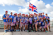 Stirling University barmy army gather ahead of the Davis Cup Semi Final between Great Britain and Argentina at the Emirates Arena, Glasgow, United Kingdom on 16 September 2016. Photo by Craig Doyle.