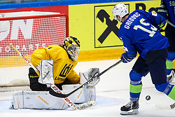 Laurynas Lubys of Lithuania vs Blaz Gregorc of Slovenia during ice hockey match between Slovenia and Lithuania at IIHF World Championship DIV. I Group A Kazakhstan 2019, on May 5, 2019 in Barys Arena, Nur-Sultan, Kazakhstan. Photo by Matic Klansek Velej / Sportida