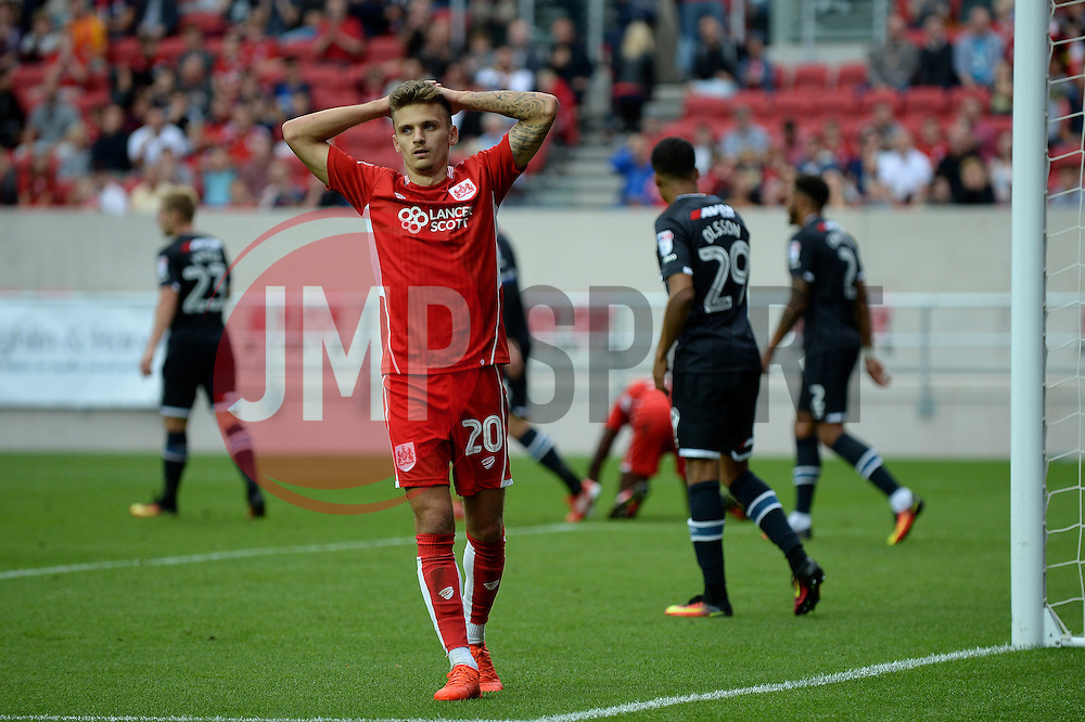 Jamie Paterson of Bristol City cuts a dejected figure - Mandatory by-line: Dougie Allward/JMP - 17/09/2016 - FOOTBALL - Ashton Gate Stadium - Bristol, England - Bristol City v Derby County - Sky Bet Championship