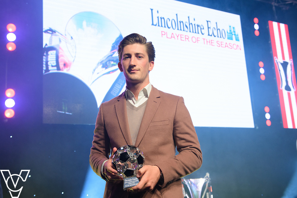 Lincoln City Football Club's 2016/17 End of Season Awards night - Championship Seasons Awards Dinner - held at the Lincolnshire Showground.<br /> <br /> LINCOLNSHIRE ECHO PLAYER OF THE SEASON:  Alex Woodyard with the Lincolnshire Echo Player of the Season award.<br /> <br /> Picture: Chris Vaughan Photography for Lincoln City Football Club<br /> Date: May 20, 2017