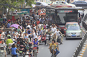 ZHENGZHOU, CHINA - SEPTEMBER 02: (CHINA OUT) <br /> <br /> Traffic Jam On The First Day Of School<br /> <br /> A general view of traffic jam in front of Zhengzhou Primary School on the first day of school on September 2, 2013 in Zhengzhou, Henan Province of China. <br /> ©Exclusivepix