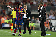 FC Barcelona's Carles Puyol (l) and Pep Guardiola during  La Liga match.August 31 2009.