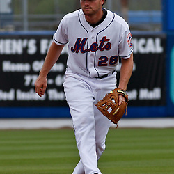 March 6, 2011; Port St. Lucie, FL, USA; New York Mets second baseman Daniel Murphy (28) during a spring training exhibition game against the Boston Red Sox at Digital Domain Park. The Mets defeated the Red Sox 6-5.  Mandatory Credit: Derick E. Hingle