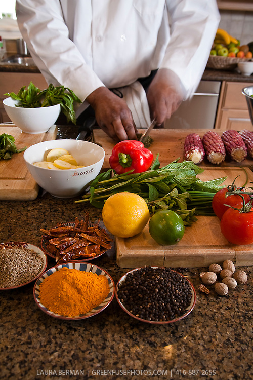Chefs hands prepping a variety of vegetables on a cutting board in a kitchen with dishes and bowls of spices