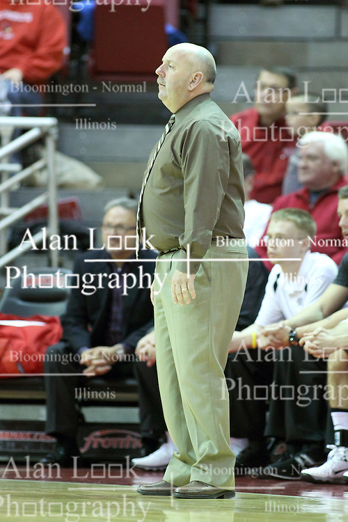 03 November 2013:  Quincy hawks head coach Marty Bell during an mens exhibition basketball game between the Quincy Hawks and the Illinois State Redbirds in Redbird Arena, Normal IL