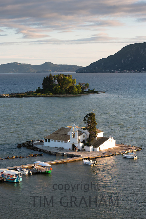 Famous monastery Panagia Vlahernon off Kanoni Peninsula in Kerkyra, Corfu Town, Ionian Islands, Greece