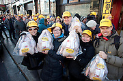Repro Free: 05/12/2012.Sarah Hogan, Terri Deegan, James Gillespie, Susanne Quinn and Andrew Carroll are pictured as as Betfair gave away 150 free turkeys to members of the public as part of their ?Beat the Budget? campaign. Pic Andres Poveda.
