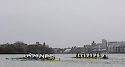Putney, GREAT BRITAIN,   Oxford [right] start to move away from Cambridge, as the both crews race on Fulham Reach, during the  2008 Boat Race,  Oxford vs Cambridge raced over the 'Championship Course' Putney to Mortlake, on the River Thames, Sat 29.03.2008 [Mandatory Credit, Peter Spurrier / Intersport-images Varsity Boat Race, Rowing Course: River Thames, Championship course, Putney to Mortlake 4.25 Miles,