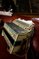UK ENGLAND THAME 27AUG14 - An accordeon  in the recording studio of deceased Robin Gibb at his  home in Thame, Oxfordshire.<br /> <br /> jre/Photo by Jiri Rezac<br /> <br /> © Jiri Rezac 2014