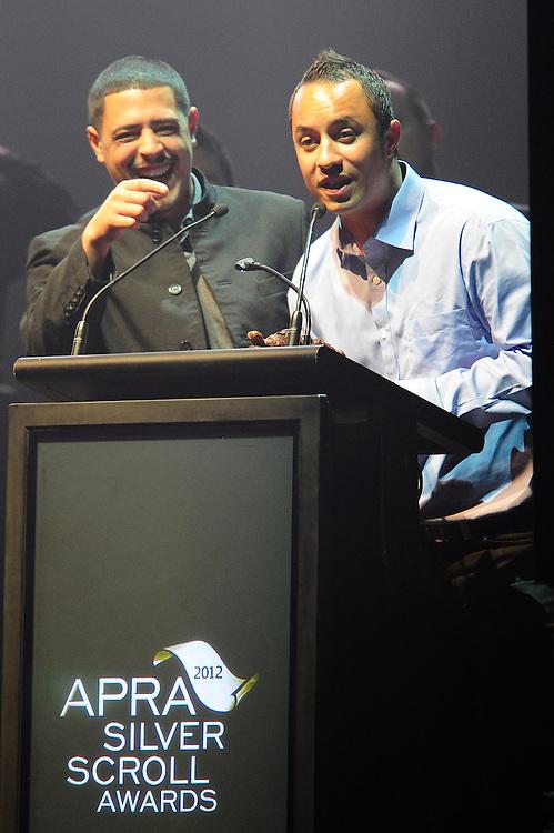 David Atai and Te Awanui Reeder, winners of the APRA Maioha Award at the APRA Silver Scroll Awards 2012. Auckland Town Hall. 13 September 2012.