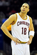 Oct. 30, 2010; Cleveland, OH, USA; Cleveland Cavaliers shooting guard Anthony Parker (18) looks to the scoreboard during the first quarter against the Sacramento Kings at Quicken Loans Arena. Mandatory Credit: Jason Miller-US PRESSWIRE