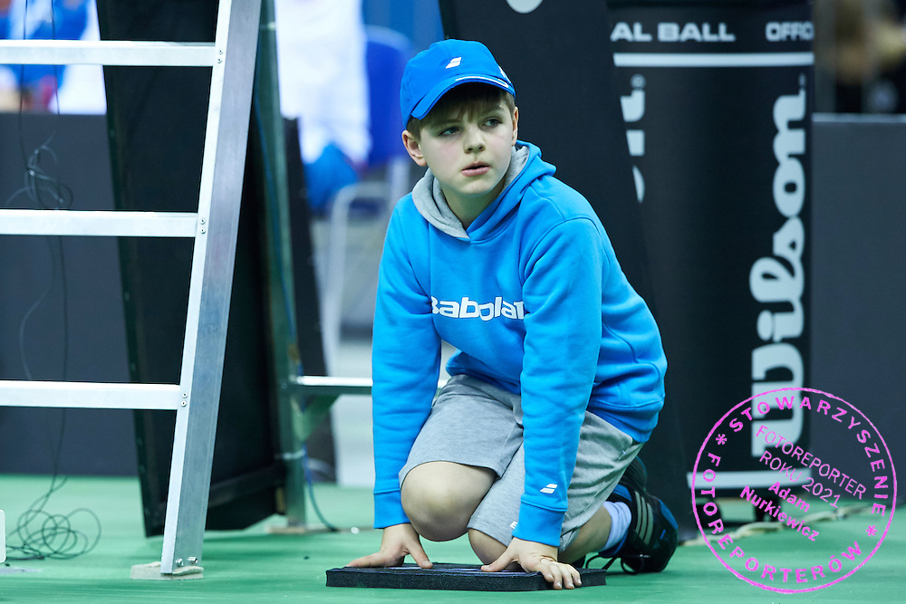Ball kid during First Day of the Fed Cup / World Group 1st round tennis match between Poland and Russia at Tauron Krakow Arena on February 7, 2015 in Cracow, Poland.<br /> <br /> Poland, Cracow, February 7, 2015<br /> <br /> Picture also available in RAW (NEF) or TIFF format on special request.<br /> <br /> For editorial use only. Any commercial or promotional use requires permission.<br /> <br /> Adam Nurkiewicz declares that he has no rights to the image of people at the photographs of his authorship.<br /> <br /> Mandatory credit:<br /> Photo by &copy; Adam Nurkiewicz / Mediasport