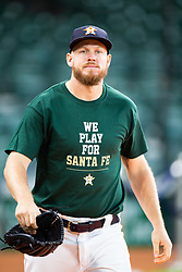 May 22, 2018 - Houston, TX, U.S. - HOUSTON, TX - MAY 22: Houston Astros relief pitcher Chris Devenski (47) and teammates wearing a shirt remembering the students and teachers killed at Santa Fe High School as the team takes batting practice prior to an MLB baseball game between the Houston Astros and the San Francisco Giants on May 22, 2018 at Minute Maid Park in Houston, Texas. (Photo by Juan DeLeon/Icon Sportswire) (Credit Image: © Juan Deleon/Icon SMI via ZUMA Press)