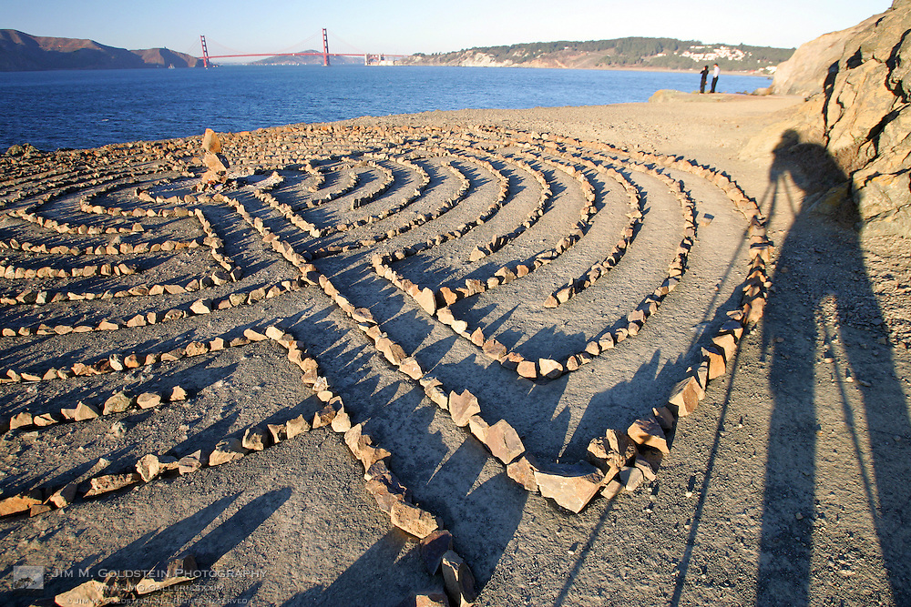 Lands End labyrinth at sunset with the Golden Gate Bridge in the background - San Francisco, California