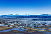 """Mt. Baker and the """"Sisters"""" across Bellingham Bay, Bellingham, Washington, Pacific Northwest, USA."""