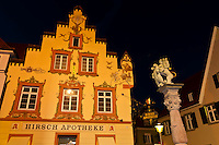 The historic Hirsch Apotheke and the Lion's Fountain on the Fischmarkt, Offenburg, Baden-Württemberg, Germany