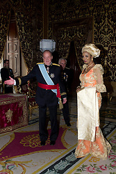Royal Palace. King Juan Carlos receives Mrs. Bianca Olivia Odumegwu-Ojukwu, new ambassador of the Federal Republic of Nigeria. In the picture: King Juan Carlos and Bianca Olivia Odumegwu-Ojukwu, October 9, 2012. Photo by Marta G. Rodriguez / DyD Fotografos / i-Images...SPAIN OUT
