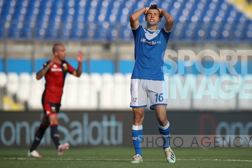 Brescia Calcio's Italian midfielder Andrea Ghezzi reacts after failing to do better from a good opening during the Serie A match at Stadio Mario Rigamonti, Brescia. Picture date: 27th June 2020. Picture credit should read: Jonathan Moscrop/Sportimage