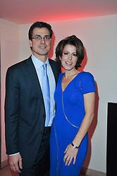 NATASHA KAPLINSKY and her husband JUSTIN BOWER at the Costa Book Awards 2010 held at Quaglino's, 16 Bury Street, London on 25th January 2011.