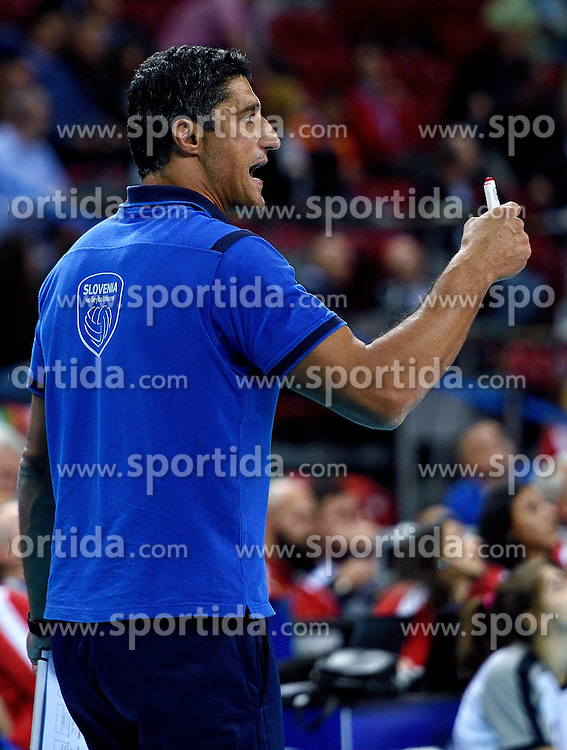 Coach Andrea Giani during volleyball match between National teams of Poland and Slovenia in Quarterfinals of 2015 CEV Volleyball European Championship - Men, on October 14, 2015 in Arena Armeec, Sofia, Bulgaria. Photo by Ronald Hoogendoorn / Sportida