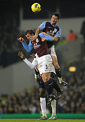 21.11.2011, White Hart Lane Stadion, London, ENG, PL, Tottenham Hotspur vs Aston Villa, 12. Spieltag, im Bild Aston Villa's Stephen Warnock clashes with team-mate Chris Herd during the football match of English premier league, 12th round, between Tottenham Hotspur and Aston Villa at White Hart Lane Stadium, London, United Kingdom on 21/11/2011. EXPA Pictures © 2011, PhotoCredit: EXPA/ Sportida/ Chris Brunskill..***** ATTENTION - OUT OF ENG, GBR, UK *****
