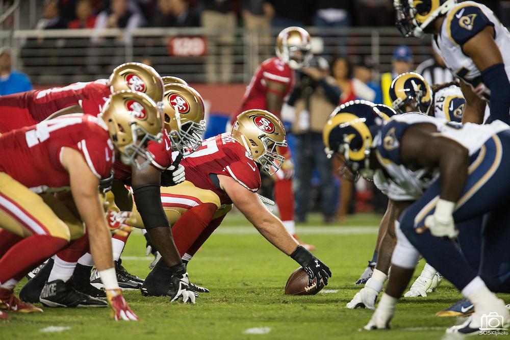 San Francisco 49ers center Daniel Kilgore (67) snaps the ball against the Los Angeles Rams at Levi's Stadium in Santa Clara, Calif., on September 12, 2016. (Stan Olszewski/Special to S.F. Examiner)