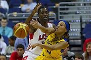 Team USA center Sylvia Fowles (13) plays defense on Team Brazil guard Adriana Pinto (4) <br /> during the 2012 USA Women's Basketball Team versus Brazil at Verizon Center in Washington, DC.  Team USA won 99-67  July 16, 2012  (Photo by Mark W. Sutton)
