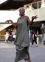 June 14, 2017 - Beijin, Beijin, China - Beijing, CHINA-June 14 2017: (EDITORIAL USE ONLY. CHINA OUT) Kenyan Model Doris Kwaka draws attention at Sanlitun Village in Beijing, June 14th, 2017. (Credit Image: © SIPA Asia via ZUMA Wire)