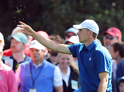 April 6, 2018 - Augusta, GA, USA - Jordan Spieth checks the wind before making his approach shot on the first hole which he double bogey'd during the second round of the Masters at Augusta National Golf Club on Friday, April 6, 2018, in Augusta, Ga. (Credit Image: © Jason Getz/TNS via ZUMA Wire)