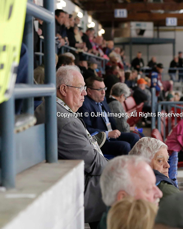 TRENTON, ON  - MAY 3,  2017: Canadian Junior Hockey League, Central Canadian Jr. &quot;A&quot; Championship. The Dudley Hewitt Cup. Game 3 between the Powassan Voodoos and the Dryden GM Ice Dogs. Mayor Jim Harrison enjoys the third period <br /> (Photo by Amy Deroche / OJHL Images)
