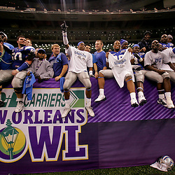Dec 20, 2009; New Orleans, LA, USA; Middle Tennessee State Blue Raiders players celebrate in the stands following the 2009 New Orleans Bowl at the Louisiana Superdome. Middle Tennessee State defeated Southern Miss 42-32. Mandatory Credit: Derick E. Hingle-US PRESSWIRE