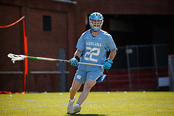 CHAPEL HILL, NC - MARCH 02: Jack Rowlett #22 of the North Carolina Tar Heels during a game against the Denver Pioneers on March 02, 2019 at the UNC Lacrosse and Soccer Stadium in Chapel Hill, North Carolina. Denver won 12-10. (Photo by Peyton Williams/US Lacrosse)