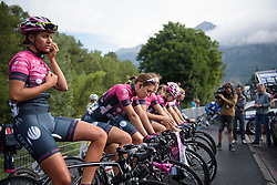 Bepink warm up for La Course 2017 - a 67.5 km road race, from Briancon to Izoard on July 20, 2017, in Hautes-Alpes, France. (Photo by Sean Robinson/Velofocus.com)