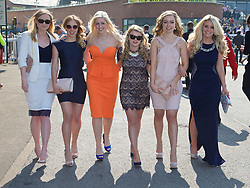 LIVERPOOL, ENGLAND - Thursday, April 9, 2015: Emma Boardman, [R] and friends, from Woolton, Liverpool, during Grand Opening Day on Day One of the Aintree Grand National Festival at Aintree Racecourse. (Pic by David Rawcliffe/Propaganda)