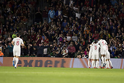 October 15, 2018 - Seville, Spain - Players of England celebrate after scoring 1-0 during the UEFA Nations League Group A4 soccer match between Spain and England at the Benito Villamarin Stadium (Credit Image: © Daniel Gonzalez Acuna/ZUMA Wire)