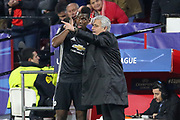 Manchester United Manager Jose Mourinho gives Manchester United Midfielder Paul Pogba instructions during the Champions League match between Sevilla and Manchester United at the Ramon Sanchez Pizjuan Stadium, Seville, Spain on 21 February 2018. Picture by Phil Duncan.