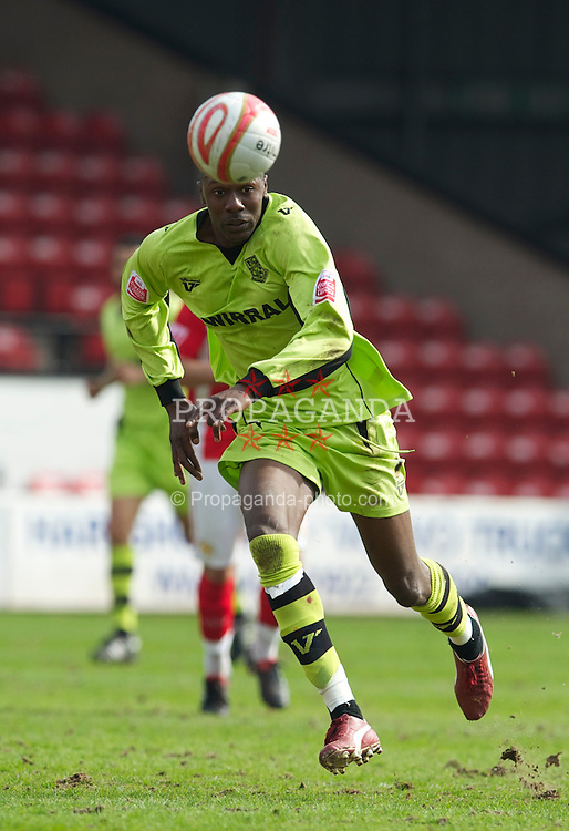 WALSALL, ENGLAND - Saturday, April 10, 2010: Tranmere Rovers' Bas Savage in action against Walsall during the Football League One match at the Bescot Stadium. (Photo by David Rawcliffe/Propaganda)