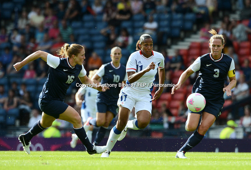 Marie Laure DELIE (fra) - Rachel BUEHLER (usa) - Christie RAMPONE (usa), FOOTBALL Womens : France vs United States, London 2012 Olympic Games, 25 July 2012. Photo: Panoramic/photosport.co.nz