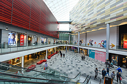 © Licensed to London News Pictures. 12/02/2020. WATFORD, UK.  A general view of the new extension of Intu Watford.  Shares in Intu, Britain's largest shopping centre owner with 20 shopping centres in the UK and Spain, including Intu Watford in north west London, have fallen after Link Real Estate Investment Trust abandoned plans to provide funds to reduce Intu's GBP4.7 billion debts. Analysts have reported that several covenants have been breached as a result of the decline in Intu's property portfolio valuation.  Photo credit: Stephen Chung/LNP