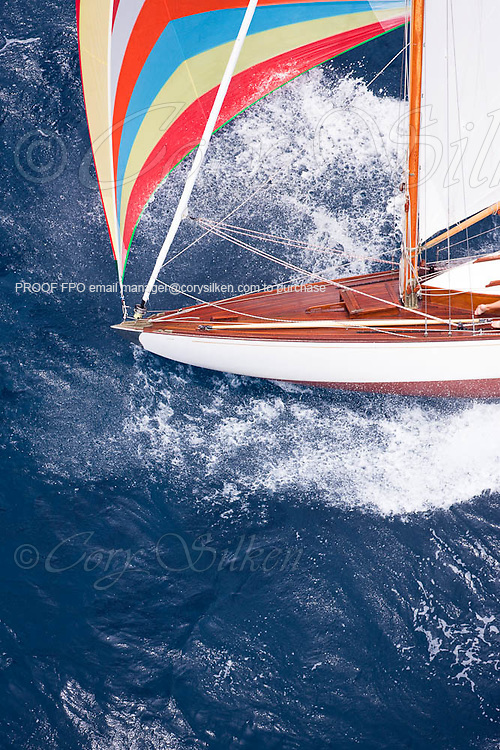 Taru sailing in the 2010 Antigua Classic Yacht Regatta, Butterfly Race, day 2.
