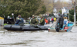 Members of the Canadian Forces transport local residents along a flooded road in Gatineau, Quebec, Canada., Monday, May 8, 2017. Photo by Adrian Wyld /The Canadian Press/ABACAPRESS.COM