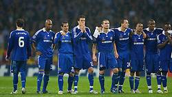 MOSCOW, RUSSIA - Wednesday, May 21, 2008: Chelsea's players, led by Michael Ballack look dejected as they miss a penalty during the shoot-out to decide the UEFA Champions League Final against Chelsea at the Luzhniki Stadium. L-R: Ricardo Carvalho, Nicolas Anelka, Ashley Cole, Michael Ballack, Frank Lampard, captain John Terry, Ashley Cole, Salomon Kalou. (Photo by David Rawcliffe/Propaganda)