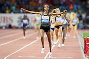 Sifan Hssan (NED) celebrates after winning the women's 1,500m in 3:57.08 in the IAAF Diamond League final during the Weltkasse Zurich at Letzigrund Stadium, Thursday, Aug. 29, 2019, in Zurich, Switzerland. (Jiro Mochizuki/Image of Sport)