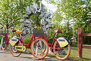 Fairbikes bike share bicycles parked by the Moose Antler Arch in Griffin Park downtown Fairbanks, Alaska. The arch is made up of more than 100 moose and caribou antlers collected from all over Interior Alaska and is the world's farthest north antler arch.