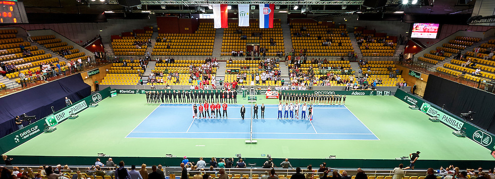 Opening ceremony during Davis Cup Tie World Group Play-off Poland v Slovakia at Gdynia Arena Hall in Gdynia, Poland.<br /> <br /> Poland, Gdynia, September 18, 2015<br /> <br /> Picture also available in RAW (NEF) or TIFF format on special request.<br /> <br /> For editorial use only. Any commercial or promotional use requires permission.<br /> <br /> Adam Nurkiewicz declares that he has no rights to the image of people at the photographs of his authorship.<br /> <br /> Mandatory credit:<br /> Photo by &copy; Adam Nurkiewicz / Mediasport