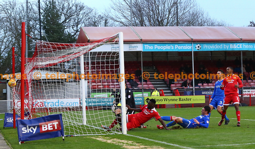 Crawley's Enzio Boldewijn  scores the opening goal during the Sky Bet League 2 match between Crawley Town and Stevenage at the Checkatrade Stadium in Crawley. 30 Dec 2017