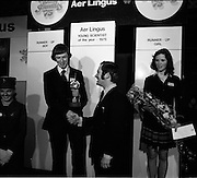 03/01/1975.01/03/1975.3rd January 1975.The Aer Lingus Young Scientist Exhibition at the RDS, Dublin...Picture shows the Young Scientist of the year Noel Boyle receiving his trophy.   ..
